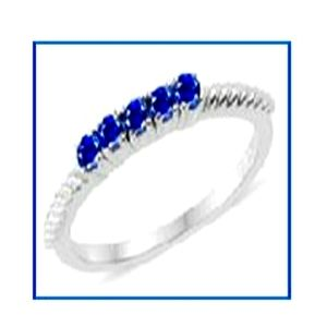 5 Stone Blue Sapphire Sterling Silver Ring Size 7